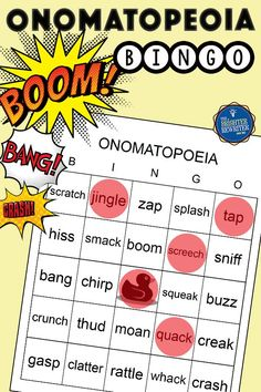 Practice identifying 30 onomatopoeia in upper elementary by playing this fun bingo game! Pre-made bingo cards are included. Bingo Games For Kids, Learning Games For Kids, Blank Bingo Cards, Response To Intervention, Small Group Reading, Vocabulary Activities, Interactive Learning, Figurative Language, Upper Elementary