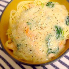2013.7.18 - 6件のもぐもぐ - 鮭と小松菜のクリームパスタ by nanananna