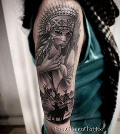 Josu Franch - Ink on Sky Indian Women Tattoo, Native Indian Tattoos, Indian Girl Tattoos, Indian Tattoo Design, Native American Tattoos, Girl Arm Tattoos, Girls With Sleeve Tattoos, 3d Tattoos, Trendy Tattoos