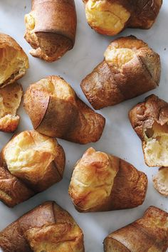 Popovers: Popovers are the American version of Yorkshire pudding; they are basically egg batter baked in a tall popover pan. The end results are tender, airy, hollow rolls surrounded by burnished crust. They are quick and easy to make, and taste oh-so-tasty. They are delightful with turkey and add a sense of fun to a holiday meal.