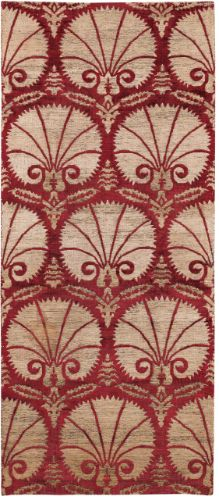 Early 17th century Ottoman voided silk textile, palmate carnation emanating from tulip design. Gold on crimson. Recreate with block print??