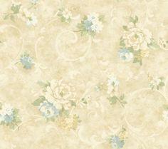 Handpainted III Painterly Scroll Sky-Olive-Linen Wallpaper HP0311
