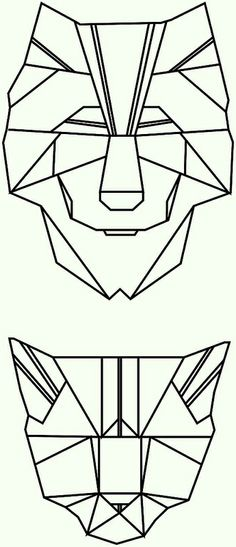 polygon tattoo triangle geometrical wolf cat