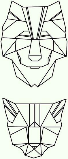 polygon tattoo triangle geometrical wolf cat