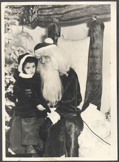 Vintage Photo Cute Girl Santa Claus Man w Christmas Tree Ornaments 755381 | eBay
