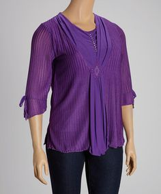 Look what I found on #zulily! Purple Layered Three-Quarter Sleeve Top - Plus by C.O.C. #zulilyfinds