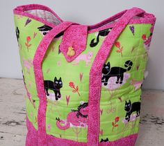 ON SALEPink and Green Snazzy French Kittens by quiltedbyGabby, $50.00