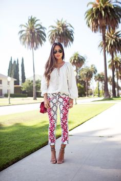 Californian Boho- Printed cropped pants, nude and accented ankle straps, white toe nails. Lovely.