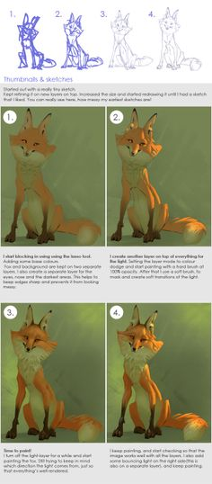 Art of Noukah: How to paint a fox in 6 steps ✤ || CHARACTER DESIGN REFERENCES | キャラクターデザイン | çizgi film • Find more at https://www.facebook.com/CharacterDesignReferences & http://www.pinterest.com/characterdesigh if you're looking for: bande dessinée, dessin animé #animation #banda #desenhada #toons #manga #BD #historieta #sketch #how #to #draw #strip #fumetto #settei #fumetti #manhwa #cartoni #animati #comics #cartoon || ✤