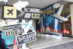 Entrance Sign from an Airplane Birthday Party via Kara's Party Ideas… Planes Birthday, Planes Party, Airplane Party, 5th Birthday, Birthday Ideas, Airport Theme, Around The World Theme, Travel Party, Party Themes