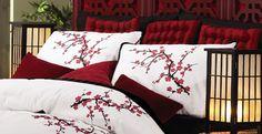 Asian Bedroom Cherry Blossom Pillow Sham Set