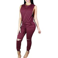 78f591e9216c Women s Sexy Sleeveless Knee Cut Out Drawstring Long Jumpsuits Rompers     Check this awesome product