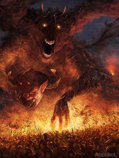 Artist: Ryan Lee aka secretscience - Title: Original Devil adv - Card: Scorching Demon Vasco (Erupting)