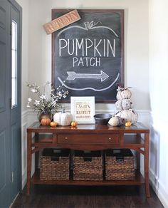 The Fall house tour continues… I recently showed you guys my kitchen and family room, now it's time for our entry foyer! Nothing too crazy this year, just lots of pumpkins and updated chalkboard art. As I mentioned before, I absolutely love fi Fall Home Decor, Autumn Home, Diy Home Decor, Fall Entryway Decor, Fall Apartment Decor, Decorate Apartment, Fall Kitchen Decor, Entryway Ideas, Apartment Living
