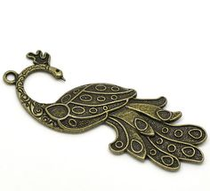 2 Silver Large Antique Gold Bronze Metal PEACOCK charm pendants by SmartParts, $3.89  scrapbook and card embellishment, diy jewelry making