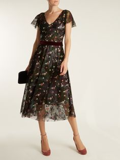 Floral-embroidered abstract-print tulle dress Luisa Beccaria Clearance Fake Best Seller Cheap Price fHn989ea