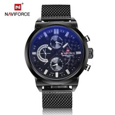 Hight quality blue luminated qiartz men watch stainless steel mesh clock dual time sport wristwatch round luxuty large men watch
