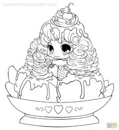 Coloring PageMagnificent Chibi Page Ice Cream Girl