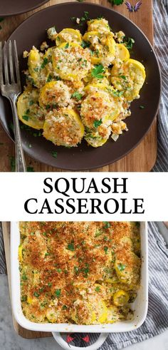 Yellow Squash Casserole Recipe - Cooking Classy Squash Casserole - made with tender yellow squash, a cheesy, creamy coating and it's finished with crispy toasted panko bread crumbs! It's a delicious, homestyle side dish that's perfect for holidays, and a great way to use up the abundance of summer squash. #squash #casserole #sidedish #thanksgiving #summer #recipe<br> Side Dish Recipes, Veggie Recipes, Vegetarian Recipes, Cooking Recipes, Healthy Recipes, Chicken Recipes, Yellow Squash Casserole, Summer Squash Casserole, Zucchini Squash Casserole