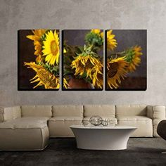 wall26 - 3 Piece Canvas Wall Art - Still life with sunflowers on the table - Modern Home Decor Stretched and Framed Ready to Hang - 24