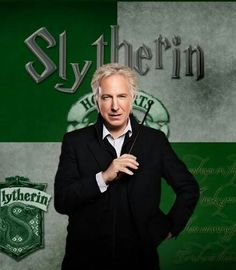 Actor Alan Rickman portrayed Severus Snape in all eight Harry Potter films, as Head of Slytherin House * Slytherin is one of the four Houses at Hogwarts School of Witchcraft and Wizardry, founded by Salazar Slytherin Saga Harry Potter, Harry Potter Severus, Theme Harry Potter, Harry James Potter, Harry Potter Books, Harry Potter Universal, Harry Potter World, Severus Hermione, Alan Rickman Severus Snape