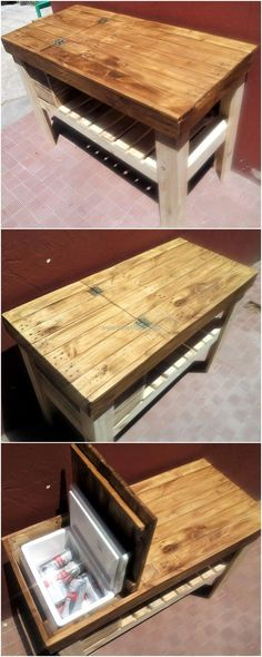 recycled pallet grill table idea #woodenpalletfurniture