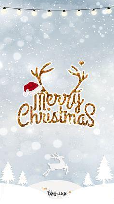 Fond d'écran Merry Christmas pour iphone, ipad et ordinateur. Motifs neige, sapins, rennes, bonnet de père Noël, paillettes.