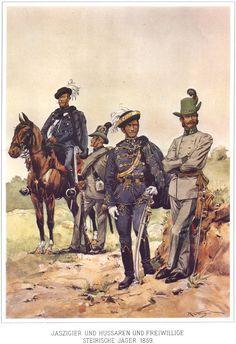 074 - Ясыгер, гусар и штирийские добровольцы-егеря 1859