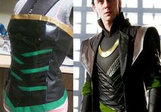 """LAUREL! DIY """"lady Loki"""" corset. Green, gold and black duck tape and black vinal. Choose a corset sewing pattern and sew vinal. Stick duck tape on front. Cut the back down the center, sew on small gold hoops, and lace green ribbon through to tighten and tie:)"""