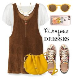 """Pinafore dress"" by maria-maldonado ❤ liked on Polyvore featuring MANGO, Vanessa Mooney, Gucci, Casetify, pinafores and 60secondstyle"
