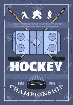 Playing field, crossed sticks, athletic players and washer symbols of game. Vector hockey league professional equipment and players silhouettes Illustration ,