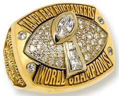 Super Bowl XXXVII ~ Tampa Bay Buccaneers - I've had the privilege of wearing this ring thanks to the company that made my first championship ring. Buccaneers Football, Tampa Bay Buccaneers, Nfl Championship Rings, Bay Sports, Sports Mom, Super Bowl Weekend, Super Bowl Rings, Tampa Bay Rays, Tampa Florida