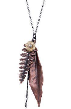Lotta Jewelry_Brass Olive Leaf Necklace w Labradorite