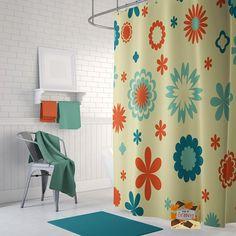 Retro Shower Curtain, 70u0027s Shower Curtain, Cool Shower Curtain, Mid Century Shower  Curtain, Vintage Shower Curtain