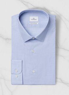Chemise petit col français - Coton égyptien - Bleu ciel - Prince de Galles