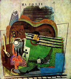 Pablo Picasso - Pipe, verre, as de trefle, bouteille de Bass, guitare, de (`Ma Jolie`) 1914