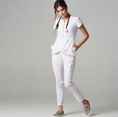 High Waist Pant with a Tulip Top by Jaanu Scrubs. Scrubs Outfit, Scrubs Uniform, Jaanuu Scrubs, Stylish Scrubs, White Scrubs, Uniform Design, Medical Scrubs, Nursing Clothes, Dental Uniforms