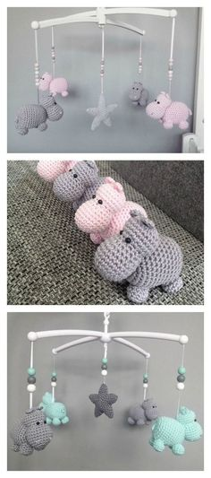 Crochet Hippo Animal Baby Mobile Free Pattern #CrochetBaby