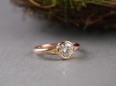 Rose Gold .75ct Forever One Moissanite Bezel by CGriffinJewelry  Low profile, engagement rings for active women, alternative bridal, simple, pea pod, solitaire