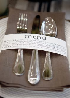 Creative Wedding & Event Menus - Napkin Ring Menu