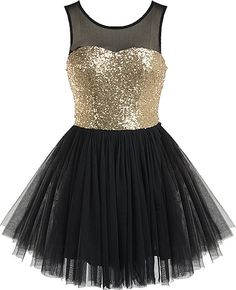Golden Ballerina Dress: Features a chic mesh yoke with illusion sweetheart neckline, glittering gold sequin bodice, centered rear zip closure, and a super feminine ballerina tulle skirt to finish.