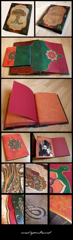 Tree of Life...    Photo album and personal notebook. Bookbinding (photo album & notebook) made by me. Cover pages are wood, curved with pyrographer and painted with acrylic colors. Spines are leather.