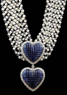 Sapphire and Diamond Heart Pendants on Pearl Choker