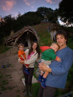 Simon Dale and family outside their Hobbit house