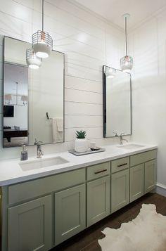 simple, clean, industrial pendants, horizontal planks, vanity color