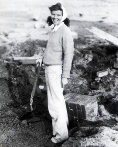 Katharine Hepburn & Co. digging through the rubble of her Hepburn home after the New England hurricane of 1938.