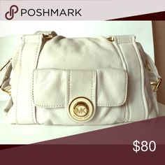 Michael Kors satchel Off white/ medium/ gold hardware/ small pocket in front of the bag/ very roomy on the inside with a zipper pocket Michael Kors Bags Shoulder Bags