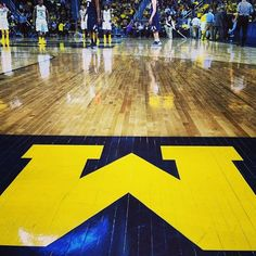 """Michigan Basketball at Crisler! I'm so happy with this years basket ball team, which never held a candle til now to our famous Fab Five who didn't have to win to be amazing legends. (USA""""s amazing gold gymnastics team tried to claim Fab Five as their name) It was changed, MI fought and it was changed....I love it..Hail"""
