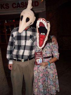 next halloween duo costume.  DIY paper mache Adam & Barbara masks