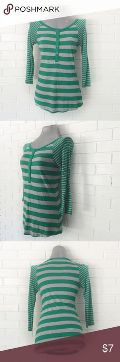 "🔴BOGO FREE🔴Old Navy Striped Raglan T-shirt ••Very good condition-no flaws•• •Round neck •Half button front •3/4 raglan sleeves •Green w gray stripes •XS  •Chest: 15"" •Length: 24.5""  •NO TRADE/HOLD  •YES BUNDLES   •PLEASE ASK QUESTIONS & READ DESCRIPTIONS. Measurements and sizing recommendations are for guidance purposes only. I cannot guarantee fit❗️ Old Navy Tops Tees - Long Sleeve"